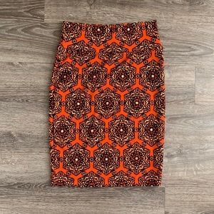 LuLaRoe Orange Cassie Pencil Skirt